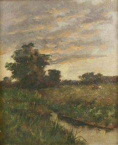 """Leesburg,Virginia,"" Arthur Hoeber, 1889, oil on canvas, 12 x 10"", private collection. ''I gave this to Mr. and Mrs. Wight, Arthur Hoeber, Leesburg, VA, July '89"" written verso."
