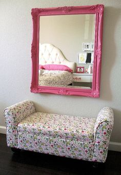 Pretty #pink framed #mirror in this #ToddlerRoom.