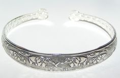 TIbet Silver Etched Elephant Cuff Bracelet Free Shipping NO FEES $10.00