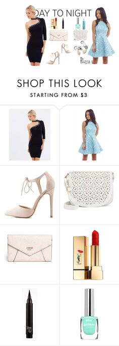 """Day To Night"" by rebi1234-1 ❤ liked on Polyvore featuring Wheels & Dollbaby, AX Paris, Charlotte Russe, 3.1 Phillip Lim, Under One Sky, GUESS, Yves Saint Laurent, DayToNight and romper"