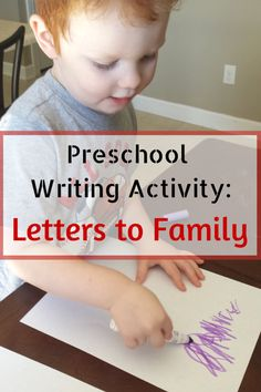 Preschool Writing Activity: Letters to Family. This writing activity is a great pre-writing tool and kids will love writing letters to family. It gives fine motor practice and practical life skills as well. It is also an opportunity to learn about the mail system and postal workers. #preschool Preschool Family, Preschool Writing, Preschool Letters, Preschool Lesson Plans, Preschool Assessment, Learning Letters, Writing Activities For Preschoolers, Literacy Activities, Preschool Activities