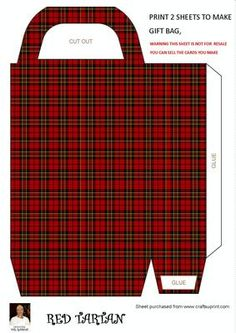 RED TARTAN GIFT BAG on Craftsuprint designed by Val Ramon - RED TARTAN GIFT BAG YOU CAN ADD YOUR OWN DIECUTS - HOLLY,- RIBBON. FOR BEST RESULTS PRINT OUT ONTO GLOSSY PHOTO PAPER. - Now available for download!