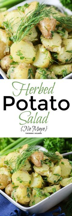 Herbed Potato Salad {No Mayo} by Noshing With The Nolands is a lightened up salad that you can serve warm or at room temperature!