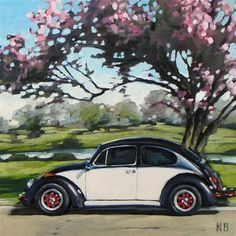"Daily Paintworks - ""Pink Ladybug"" - Original Fine Art for Sale - © Nora Bergman"