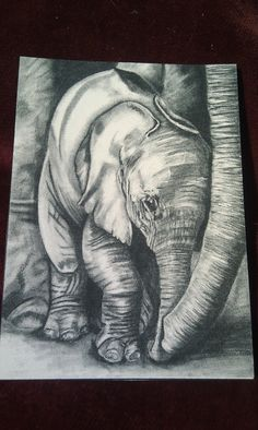 ACEO Drawing of Baby Elephant by Artist by BearNaccessories, £2.00