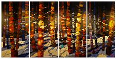 Quadtych 48 X 96 inches overall - paper infused with acrylic polymer on deep box exhibition canvas - commissions welcome