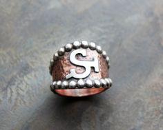 Custom Brand Ring. Copper and Sterling silver.  Livestock Brand. Ranch Brand Ring