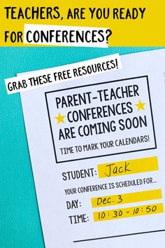 Parent-teacher conferences are approaching. Here's a list of handy resources and free printables to help you prep! Parent Teacher Conference Forms, Parent Teacher Communication, Parent Teacher Conferences, Paragraph Writing, Opinion Writing, Persuasive Writing, Writing Rubrics, Parents As Teachers, New Teachers