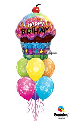 This Colorful Cupcake Balloon Bouquet Will Make All The Girly Girls Giggle It Is Made Of A Happy Birthday Cherry Chocolate Foil With Pink Yellow