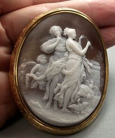 Amazing Cameo Scene of the Goddesses Venus and Diana from antiquecameos on Ruby Lane