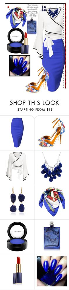 """blue"" by jaja8x8 ❤ liked on Polyvore featuring Doublju, Dolce&Gabbana, Ten Thousand Things, Lauren K, MAC Cosmetics, The Beautiful Mind Series, Estée Lauder and WALL"