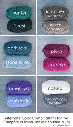 Some color combination suggestions when you need a little color inspiration. Color combos to think about for the cottages. Yarn Color Combinations, Colour Schemes, Loom Knitting, Knitting Patterns, Crochet Patterns, Crochet Crafts, Yarn Crafts, Knitting Projects, Crochet Projects