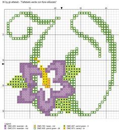 alfabeto verde con fiore stilizzato W