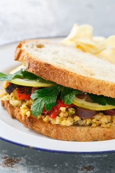 Marinated Chickpea Sandwiches with Lemon Confit, Parsley, Olives, and Roasted Red Peppers from @LoveAndOliveOil | Lindsay Landis | Lindsay Landis