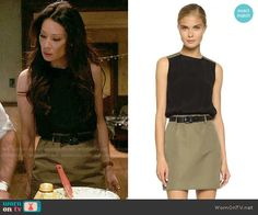 Joan's two-tone dress on Elementary. Outfit Details: http://wornontv.net/54244/ #Elementary