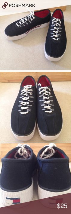 Tommy Hilfiger Blue Thick Sole Sneakers,SZ 8.5M Good condition.Vintage style.Thick white soles with Polka dot laces.Dark navy blue. Tommy Hilfiger Shoes Sneakers