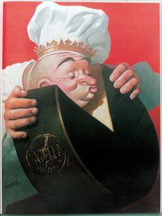 Vintage Italian Posters ~ #illustrator #Italian #vintage #posters ~  G. Boccasile Manifesto per il Caseificio Tavella 1940
