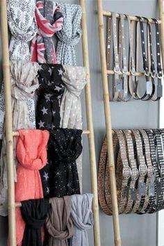 48 Retail Display Ideas 19 - Angelina Lopez Home Boutique Design, Boutique Decor, Boutique Clothing, Boutique Ideas, Scarf Display, Belt Display, Handbag Display, Craft Show Displays, Display Ideas