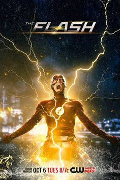 A new The Flash Season 2 poster teases some trouble for Barry Allen. The second season of the popular The CW series premieres on October Flash Barry Allen, The Flash Poster, New Poster, The Cw, Dc Comics Peliculas, The Flash Season 2, Second Season, Flash Tv Series, Drama Series