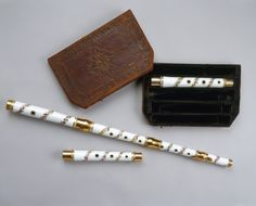 """1760 German(?) Porcelain transverse flute at the Royal Collection, UK - From the curators' comments: """"As well as the harpsichord and pianoforte, George III played the flute proficiently and clearly found it a consoling occupation....Frederick the Great of Prussia had earlier promoted the instrument and extended its repertoire with a number of his own compositions, and the 'transverse' flute, played horizontally rather than vertically, was known in the eighteenth century as the German flute."""""""