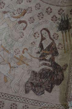 Fil:Albertus Pictor Almunge kyrka Diana takmålning ovanför orgelläktaren 07.JPG