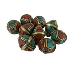 Tibetan Nepal Beads Red and Turquoise Pressed Stones 15 mm x 12 mm One Piece per Package