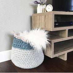 Make this chic storage basket with Lion Brand Hometown USA!