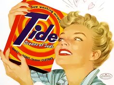 Two great ads for Tide detergent from the Happy Housewife era. These would look so great framed in a laundry room! One ad shows the Happy Retro Advertising, Retro Ads, Vintage Advertisements, Vintage Ads, Vintage Posters, Vintage Stuff, School Advertising, Advertising Signs, Vintage Girls