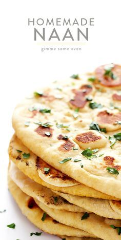 Learn how to make homemade naan with this simple and delicious naan recipe. (Bonus recipe included for an Indian Veggie Naan Wrap! Indian Bread Recipes, Recipes With Naan Bread, Naan Bread Recipe Easy, Pizza Recipes, Recipes Dinner, Homemade Naan Bread, Comida India, Gimme Some Oven, Eat This