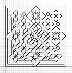 Blackwork - A good pattern if you only want to carry around a little. Motifs Blackwork, Blackwork Cross Stitch, Blackwork Embroidery, Paper Embroidery, Cross Stitching, Cross Stitch Embroidery, Embroidery Patterns, Geometric Embroidery, Folk Embroidery