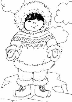 eskimo coloring pages Coloring Book Pages, Coloring Pages For Kids, Coloring Sheets, Embroidery Patterns, Hand Embroidery, Polo Norte, Polar Animals, Thinking Day, Free Graphics