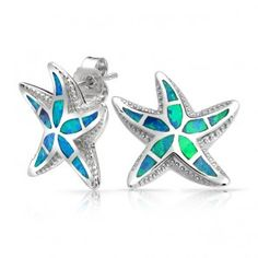 Nautical Starfish Blue Opal Stud Earrings Hawaiian Jewelry Sterling Silver