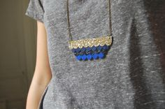 Long necklace Nuage Blue & Grey by ChouetteFille on Etsy, €34.00