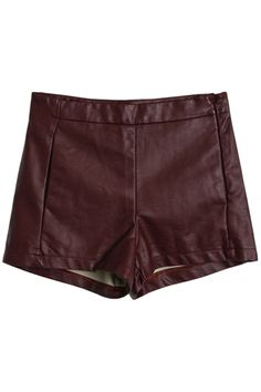 Wine-red Vinyl Shorts. Description Wine-red shorts,featuring a middle waist,vinyl main with smooth surface and soft feeling,an invisble zip side,short length,nice pleats stitching,dipped hems finish. Fabric Vinyl  Washing Specialist Dry Clean. #Romwe