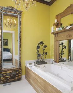 Use an old door to frame a mirror. Can be used anywhere in a house.