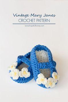Vintage Mary Jane Baby Booties - Free Crochet Pattern