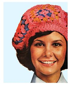 Vintage 1970s Crochet Pattern Granny Squares Beret Hat Digital Download PDF