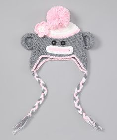 Pink & Gray Monkey Earflap Beanie Color inspiration