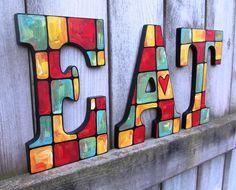 HandPainted Letters spelling EAT by jennifermally on Etsy, $75.00