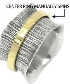 Meditation Spinner Ring Sterling Silver Textured SZ 10. Starting at $1 on Tophatter.com!