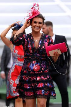 Hold on to your One lady teamed her bright sequin-encrusted frilly frock with her hat as she beamed during her arrival to the festival Charlotte Hawkins, White Flip Flops, Bright Dress, Monochrome Outfit, Boucle Jacket, Floral Headpiece, Colorful Shoes, Blue Coats, Black Blazers