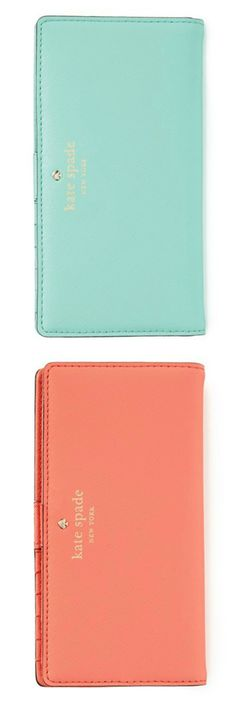 These coral and mint Kate Spade wallets are on the wishlist.