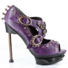 Purple Mary Jane Peep Toe steampunk shoe.  www.weheartit.com