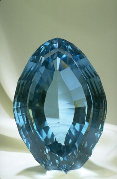 Blue Topaz from the National Gem Collection. Radiation and heat treatment is used to transform colorless or yellow-brown topaz into blue.