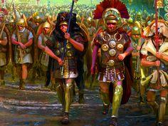 Roman legion marching into Gaul