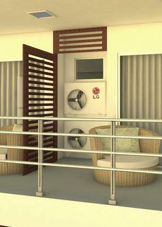 Reforma residência. Espaço para condensadoras. Visite nosso Instagram @italaarquitetura Obrigada!