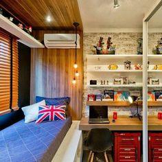 Como decorar e aproveitar cada cantinho de um quarto pequeno Home Office Decor, Home Decor Bedroom, Single Bedroom, Teen Girl Bedrooms, Trendy Bedroom, Apartment Design, Dream Bedroom, Home Interior Design, Furniture
