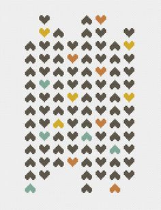 heart modern cross stitch pattern ++ retro love mosaic ++ pdf INsTAnT DOwNLoAD…