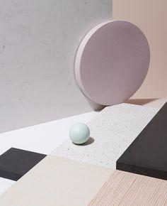 Caesar Stone | Victoria Ling materialenpallet materialisatie moodboard compositie hout graniet roze grafisch