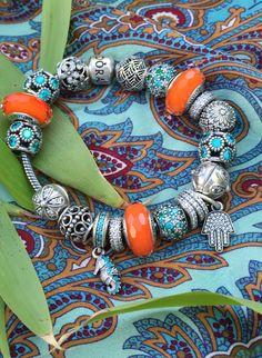 Mix patterns and add bright colors for a bohemian look. #PANDORA #PANDORAbracelet